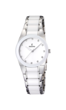 FESTINA WOMEN'S WHITE CERAMIC STAINLESS STEEL WATCH BRACELET F16534/3