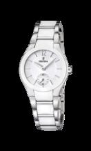FESTINA WOMEN'S WHITE CERAMIC STAINLESS STEEL WATCH BRACELET F16588/1