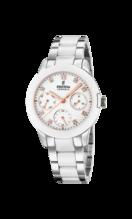 FESTINA WOMEN'S WHITE CERAMIC STAINLESS STEEL WATCH BRACELET F20497/1