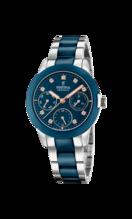 FESTINA WOMEN'S BLUE CERAMIC STAINLESS STEEL WATCH BRACELET F20497/2